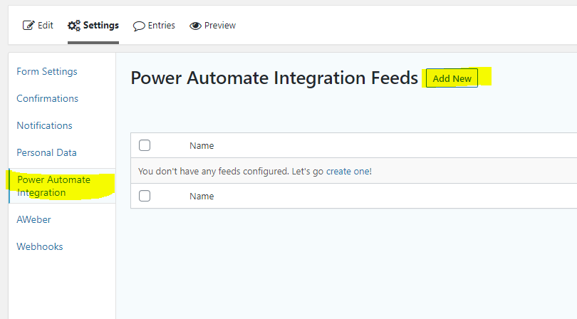 Power Automate Integration Feeds
