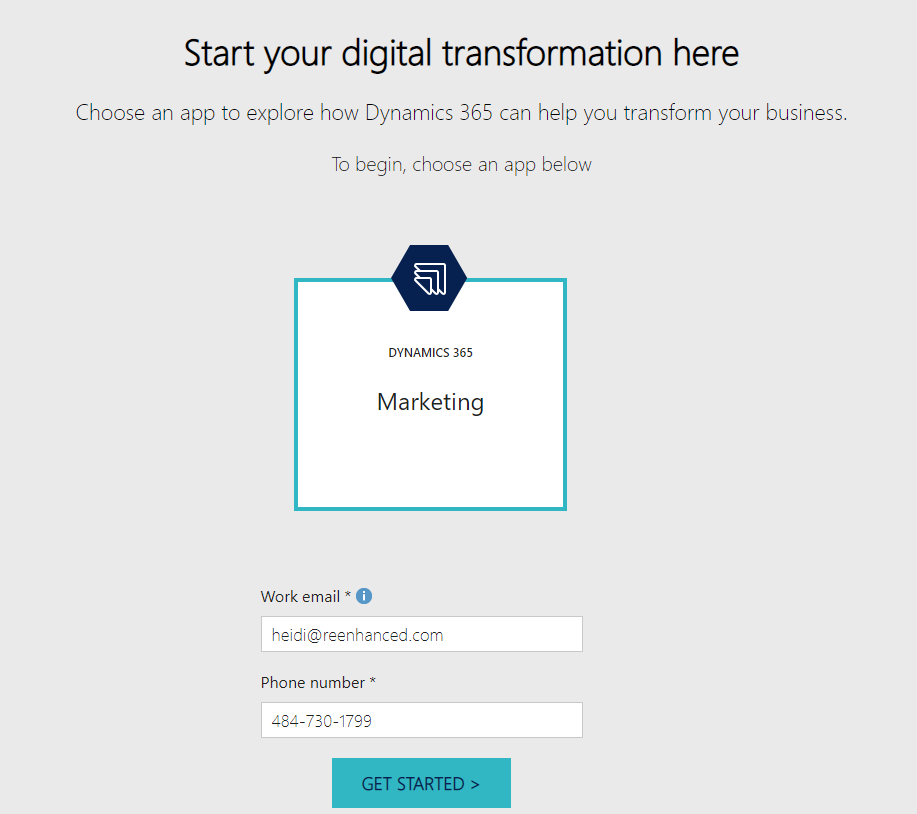 Sign up for your Dynamics 365 for Marketing trail