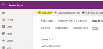 Power Apps: Add View
