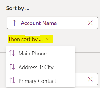 Power Apps system views: apply secondary sort
