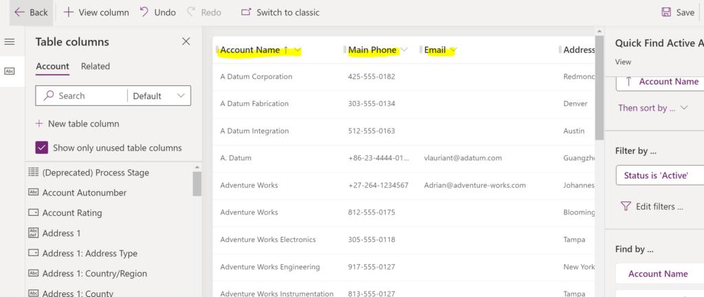 Global Search Fields. Online Customers: Power Apps Maker Portal.