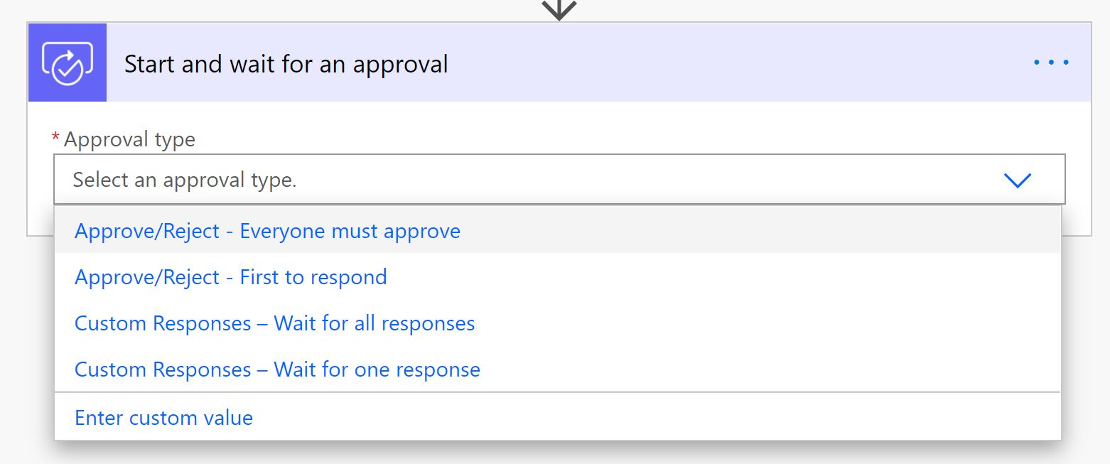Select an approval type