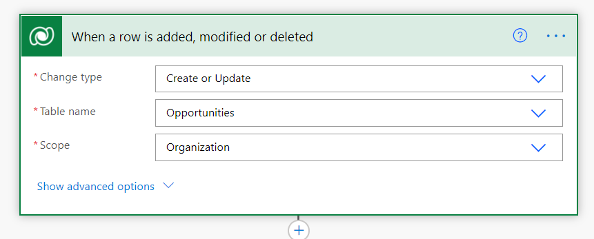 Dataverse: when a row is added, modified or deleted