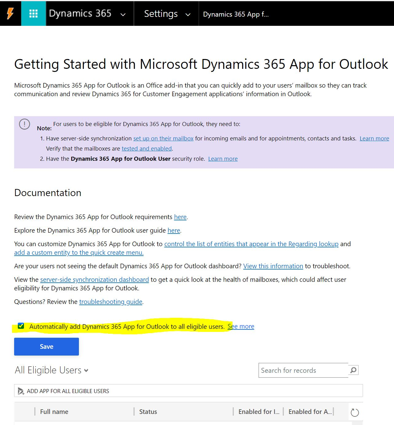 Dynamics 365 App for Outlook: push to users