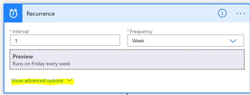 display advanced options