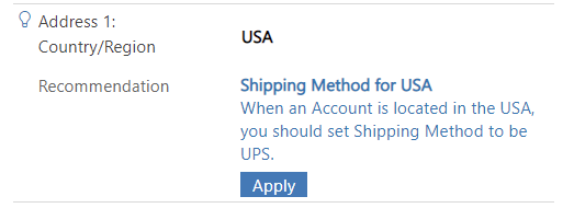 Recommendation in action on the Account form.