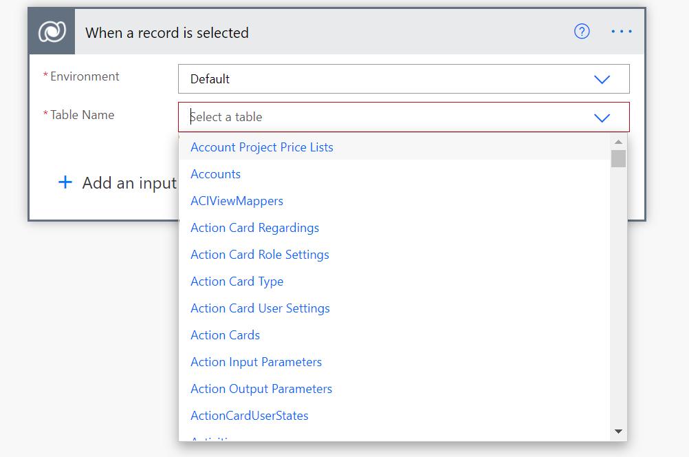 Instant Cloud Flow: Dataverse: select table