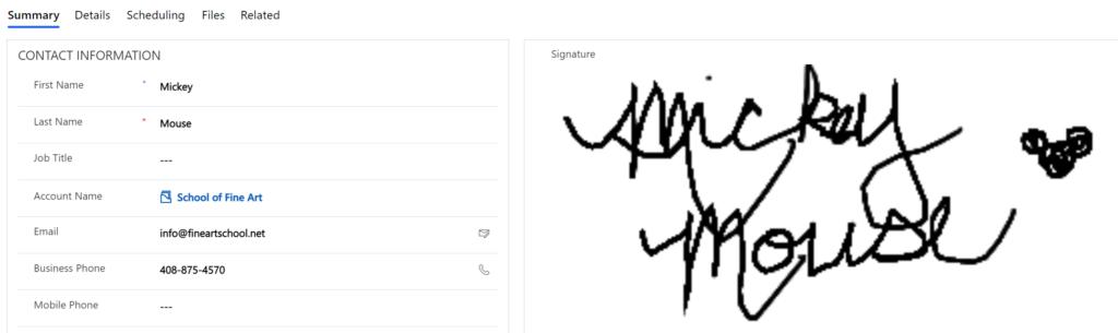 Pen Control on a Contact Form to capture signature - custom controls example