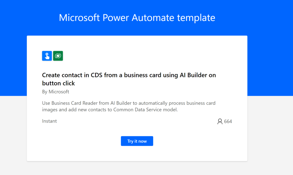 A sample power automate template