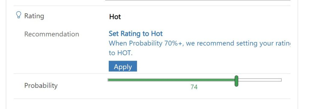 Recommendation generated by a Business Rule in Dynamics 365