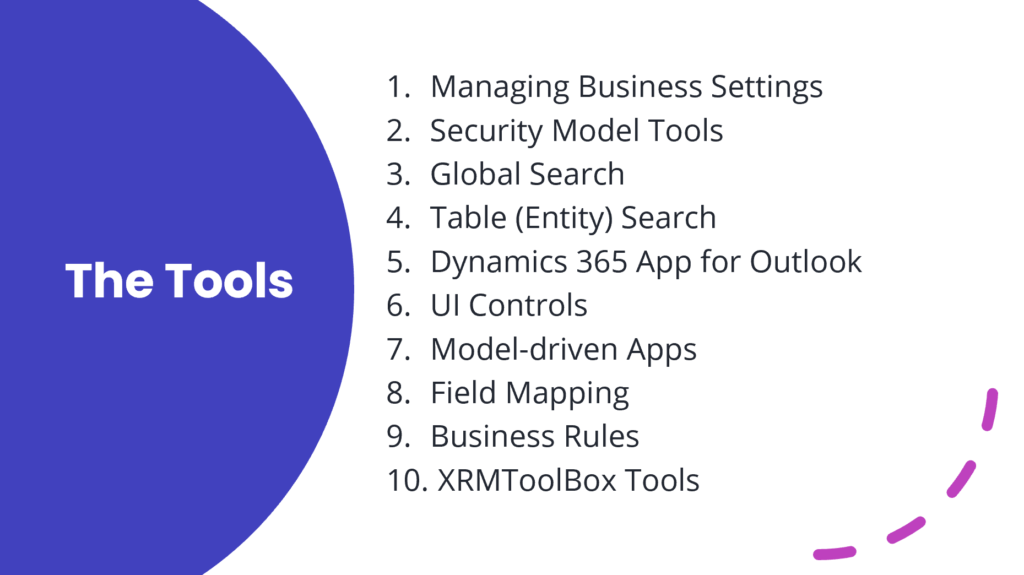 The tools: Managing Business Settings  Security Model Tools Global Search Table (Entity) Search Dynamics 365 App for Outlook UI Controls Model-driven Apps Field Mapping Business Rules  XRMToolBox Tools
