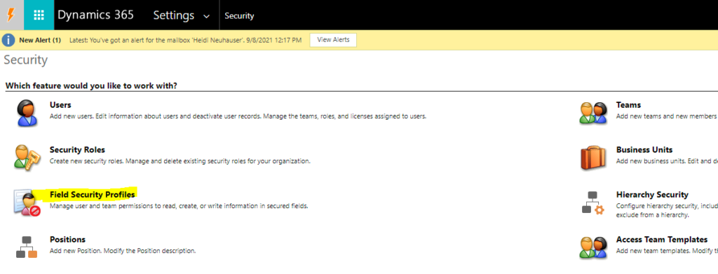 Settings > Field Security Profiles