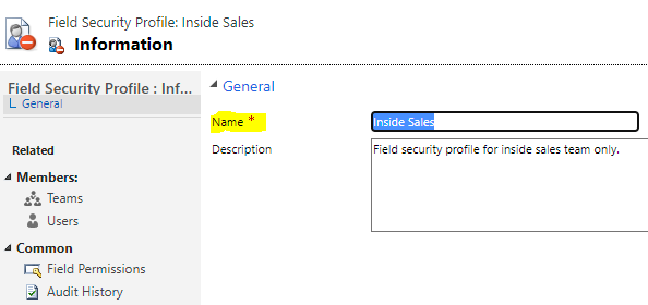 A new Field Security Profile: Add a name and click Save at the top.
