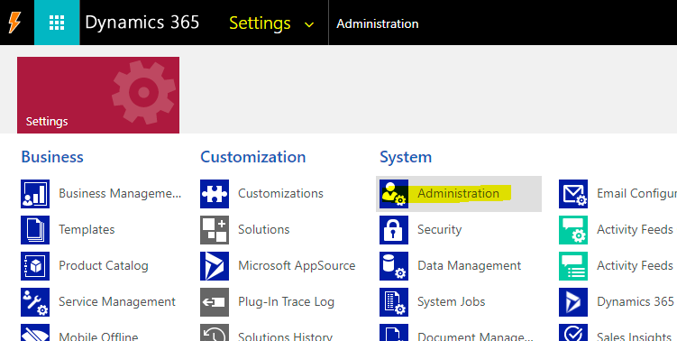 From settings, navigate to Administration.
