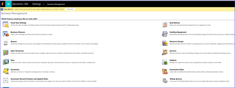 Business management area of Dynamics 365 for system administrators