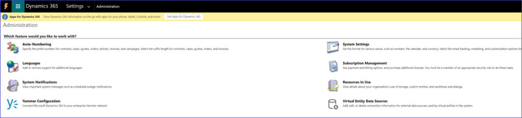 Administration area of Dynamics 365 for system administrators - business settings