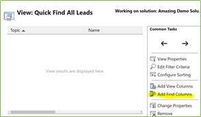 Click Add Find Columns in the Common Tasks box.