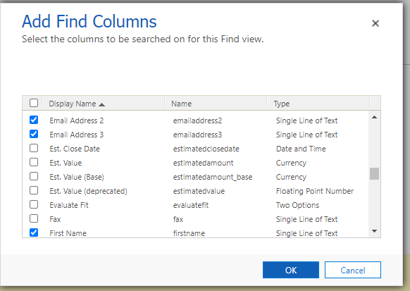 Add/remove find columns here.