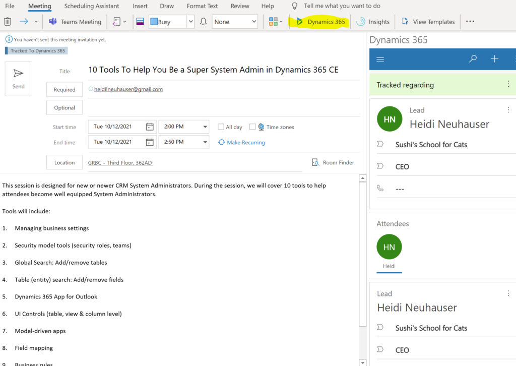 This Outlook meeting has been tracked and set regarding a specific Lead in Dynamics 365.
